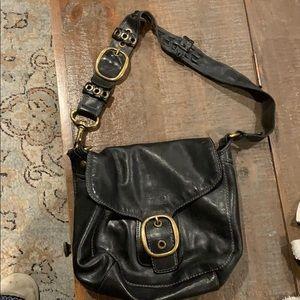 Coach black purse with metal trim
